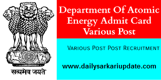 Department Of Atomic Energy Various Post